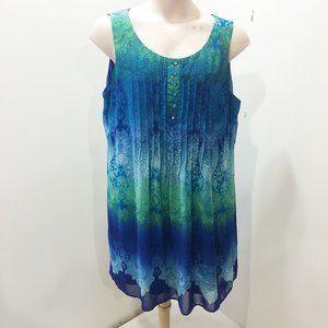 DRESS BARN 18W Dress Midi Blue Green Paisley Tunic